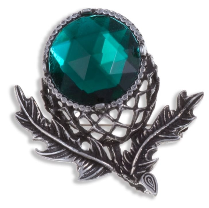 Image 1 of Thistle Flower Antiqued Green Glass Stone Stylish Pewter Brooch
