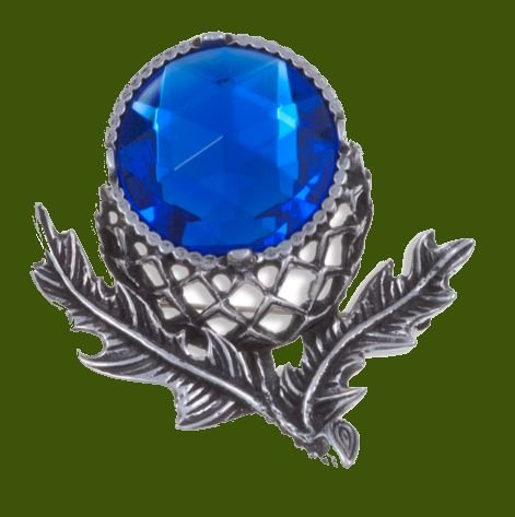 Image 0 of Thistle Flower Antiqued Blue Glass Stone Stylish Pewter Brooch