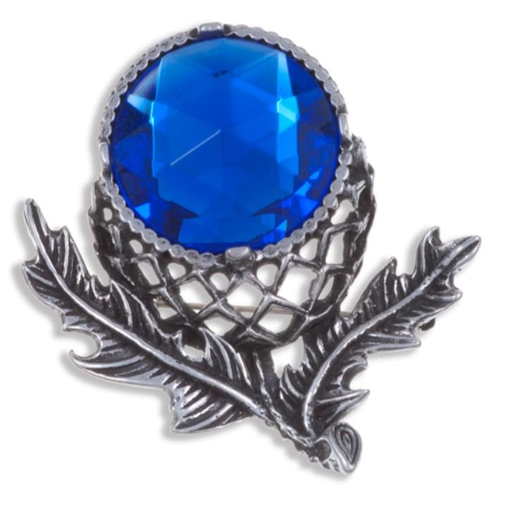 Image 1 of Thistle Flower Antiqued Blue Glass Stone Stylish Pewter Brooch