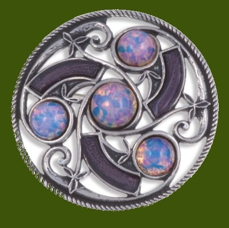 Image 0 of Celtic Triscele Knotwork Antiqued Opal Purple Glass Stone Stylish Pewter Brooch