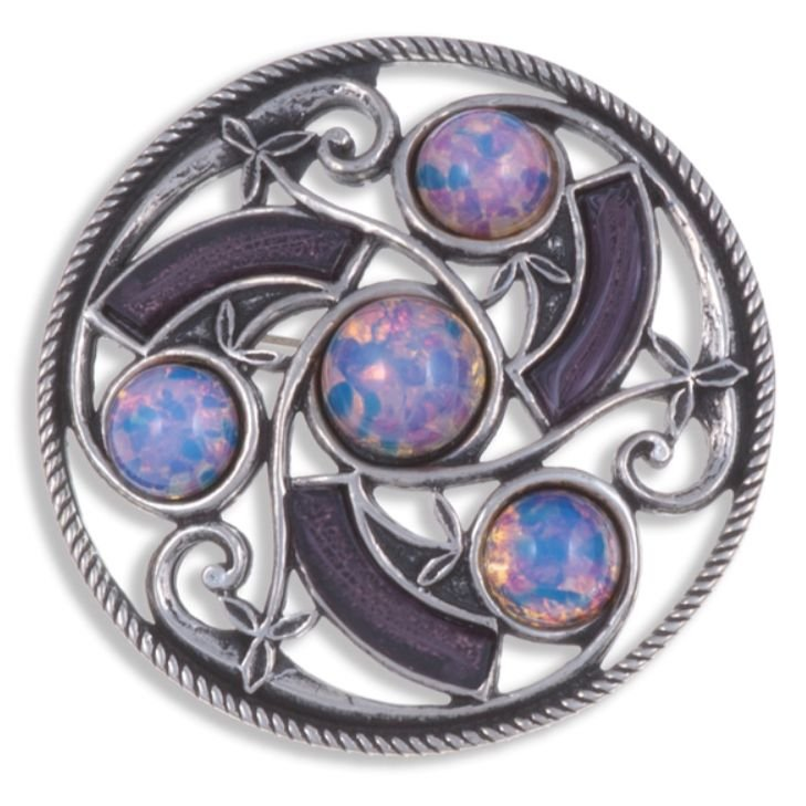 Image 1 of Celtic Triscele Knotwork Antiqued Opal Purple Glass Stone Stylish Pewter Brooch