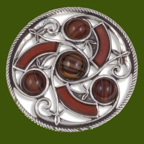 Image 0 of Celtic Triscele Knotwork Antiqued Brown Glass Stone Stylish Pewter Brooch