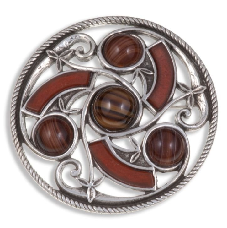 Image 1 of Celtic Triscele Knotwork Antiqued Brown Glass Stone Stylish Pewter Brooch