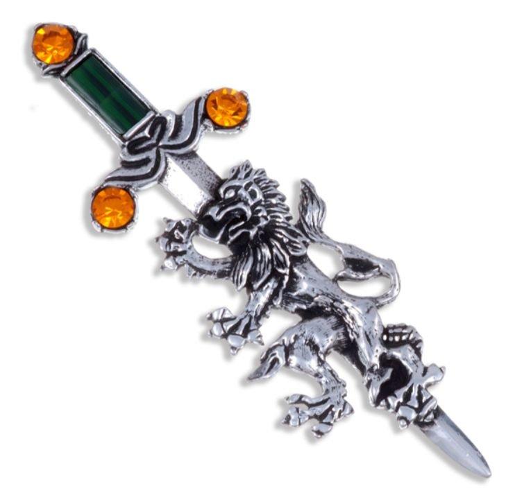 Image 1 of Rampant Lion Sword Antiqued Orange Green Glass Stone Stylish Pewter Brooch