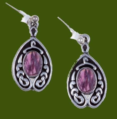 Image 0 of Celtic Knot Nouveau Purple Glass Stone Stylish Pewter Sheppard Hook Earrings