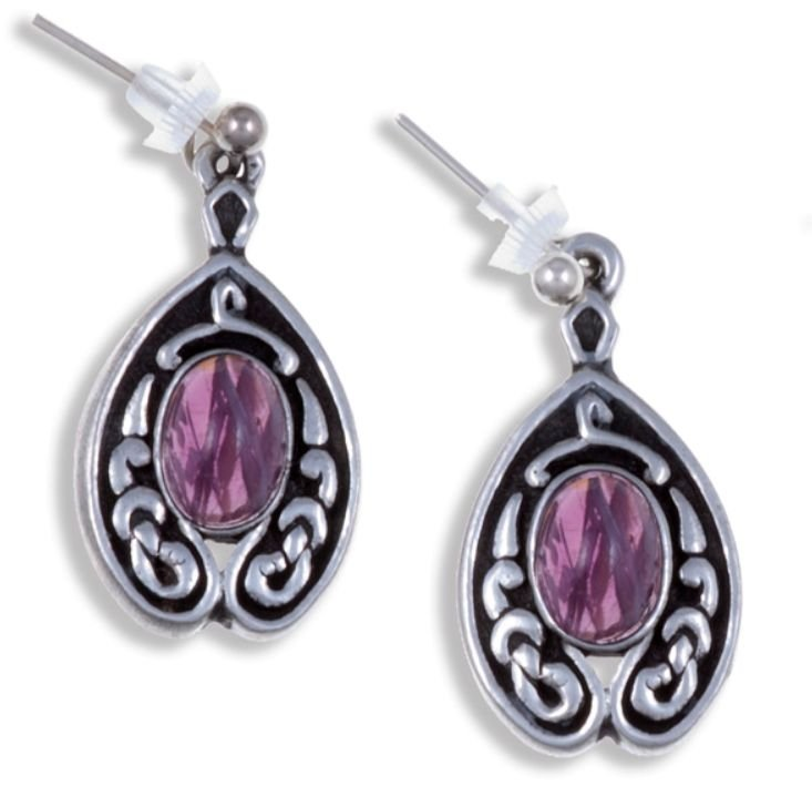 Image 1 of Celtic Knot Nouveau Purple Glass Stone Stylish Pewter Sheppard Hook Earrings