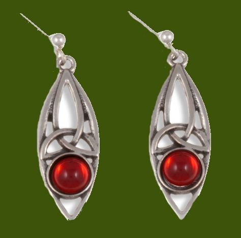 Image 0 of Celtic Oval Antiqued Red Glass Stone Stylish Pewter Sheppard Hook Earrings