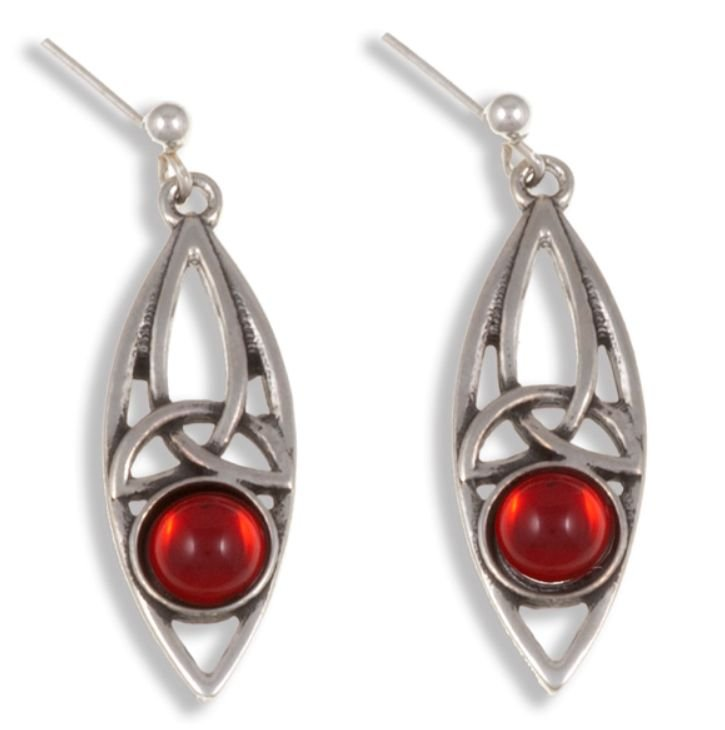 Image 1 of Celtic Oval Antiqued Red Glass Stone Stylish Pewter Sheppard Hook Earrings