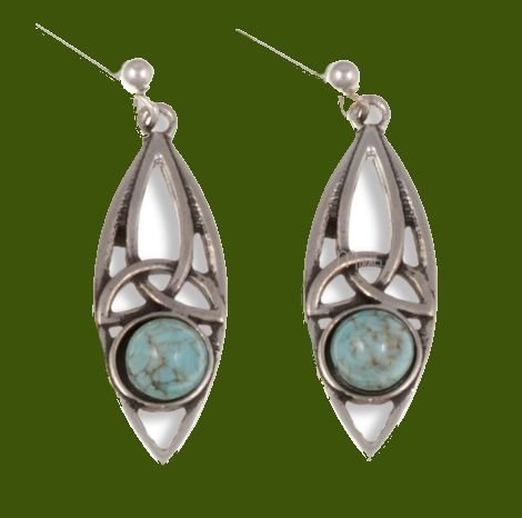 Image 0 of Celtic Oval Antiqued Turquoise Glass Stone Stylish Pewter Sheppard Hook Earrings