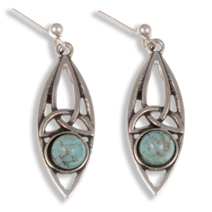 Image 1 of Celtic Oval Antiqued Turquoise Glass Stone Stylish Pewter Sheppard Hook Earrings