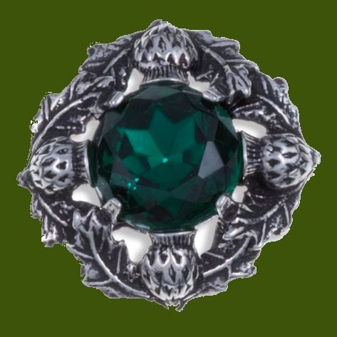 Image 0 of Thistle Flower Antiqued Round Green Glass Stone Stylish Pewter Brooch
