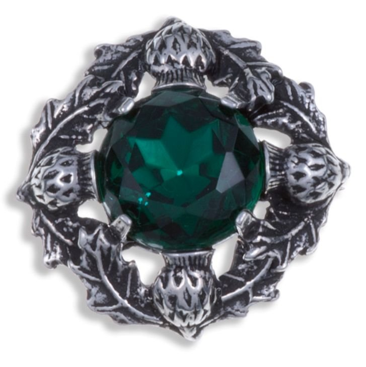 Image 1 of Thistle Flower Antiqued Round Green Glass Stone Stylish Pewter Brooch
