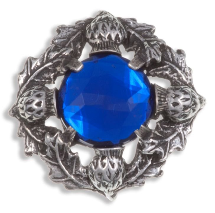 Image 1 of Thistle Flower Antiqued Round Blue Glass Stone Stylish Pewter Brooch