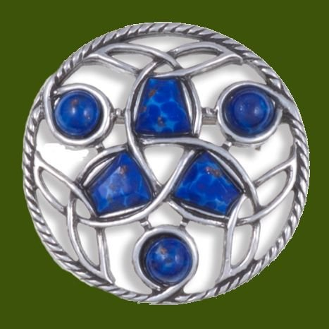 Image 0 of Celtic Endless Knotwork Antiqued Blue Glass Stone Stylish Pewter Brooch