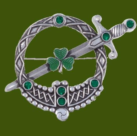 Image 0 of Tara Shamrock Green Glass Stone Large Round Antiqued Stylish Pewter Brooch
