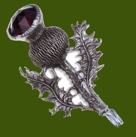 Image 0 of Thistle Flower Antiqued Purple Glass Stone Stylish Pewter Kilt Pin
