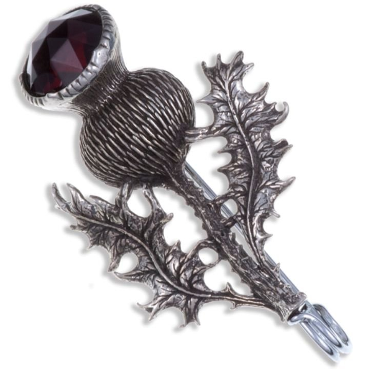 Image 1 of Thistle Flower Antiqued Purple Glass Stone Stylish Pewter Kilt Pin