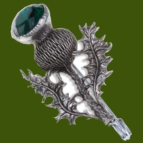 Image 0 of Thistle Flower Antiqued Green Glass Stone Stylish Pewter Kilt Pin