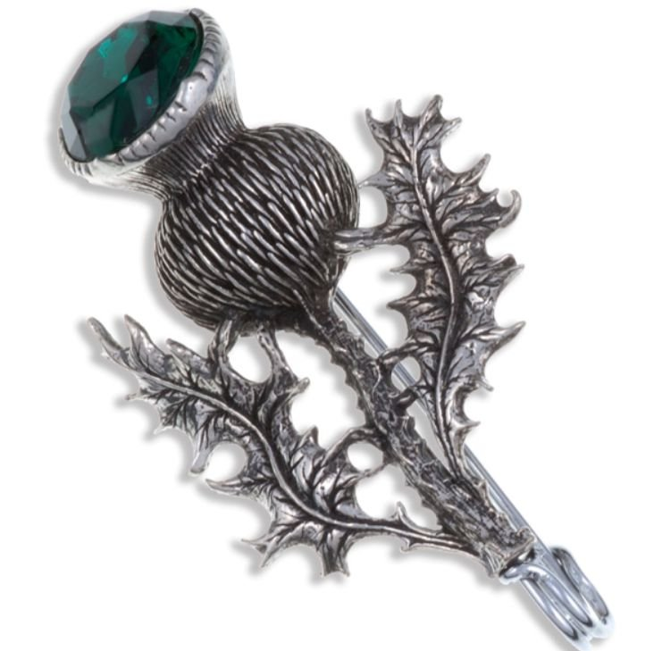 Image 1 of Thistle Flower Antiqued Green Glass Stone Stylish Pewter Kilt Pin