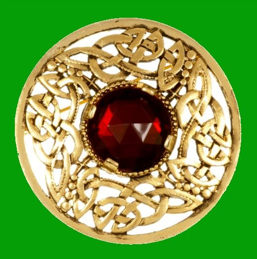 Image 0 of Celtic Open Knotwork Antiqued Red Glass Stone Round Gold Plated Brooch