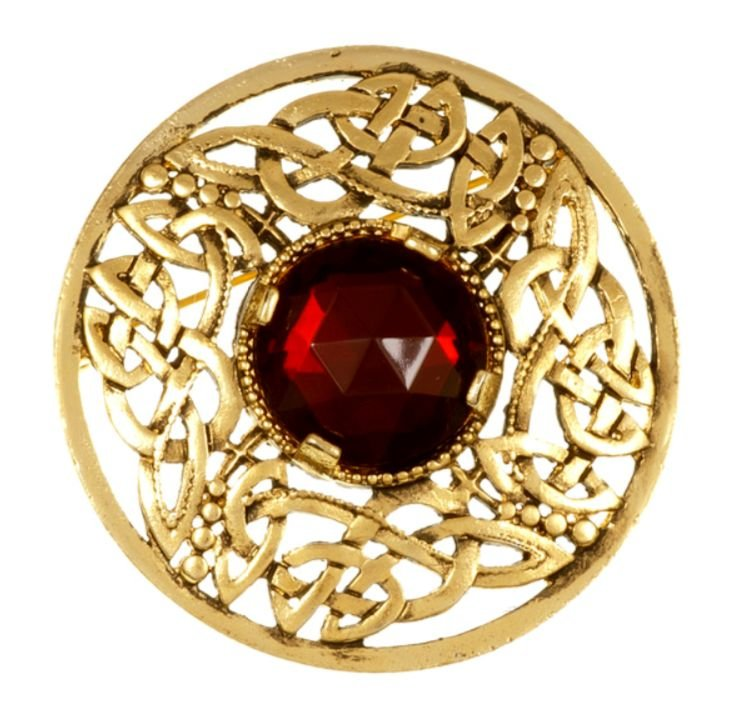 Image 1 of Celtic Open Knotwork Antiqued Red Glass Stone Round Gold Plated Brooch