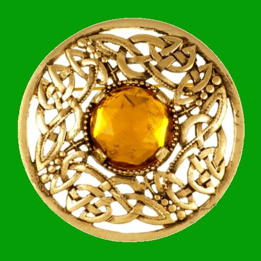 Image 0 of Celtic Open Knotwork Antiqued Orange Glass Stone Round Gold Plated Brooch