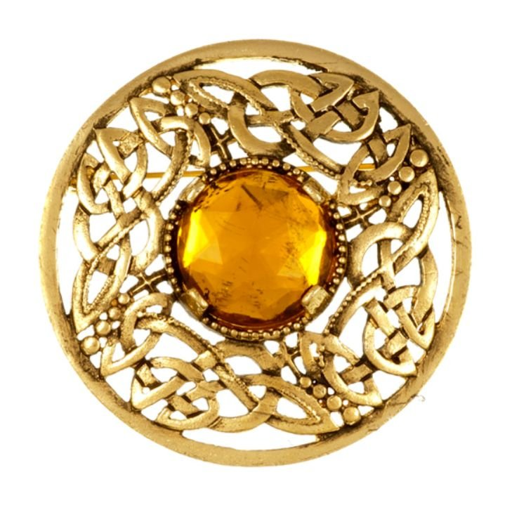 Image 1 of Celtic Open Knotwork Antiqued Orange Glass Stone Round Gold Plated Brooch