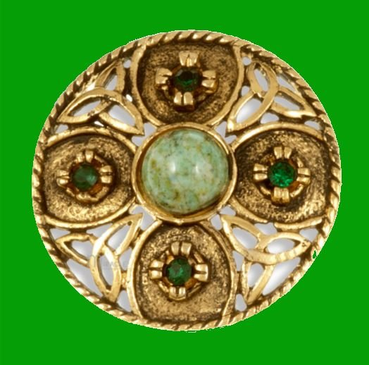 Image 0 of Celtic Triscele Shield Antiqued Iona Green Glass Stone Gold Plated Brooch
