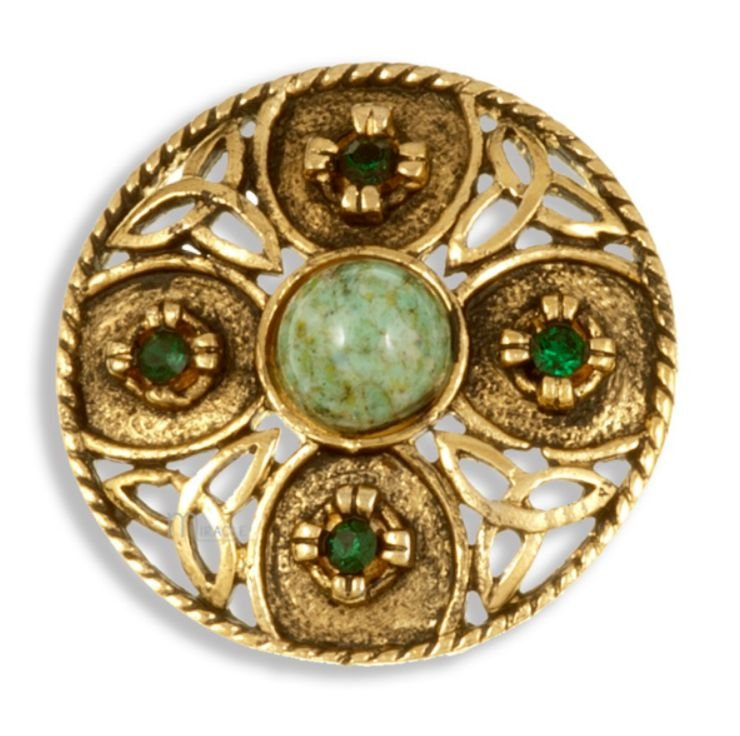 Image 1 of Celtic Triscele Shield Antiqued Iona Green Glass Stone Gold Plated Brooch