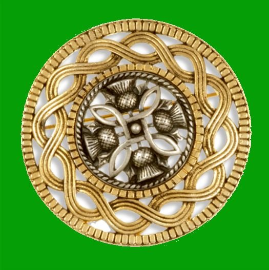 Image 0 of Thistle Antiqued Design Round Gold Plated Brooch