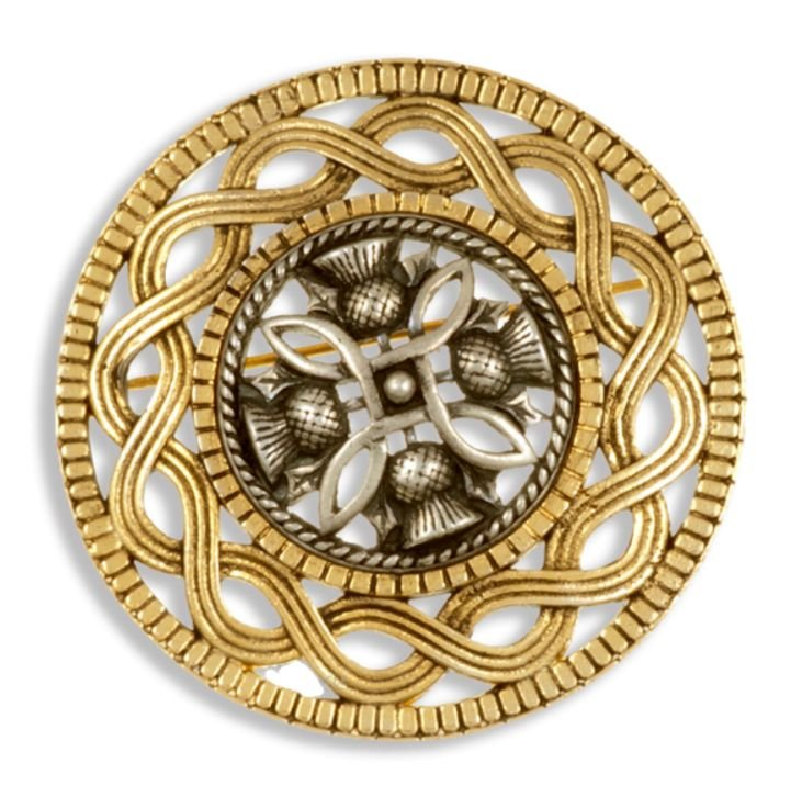 Image 1 of Thistle Antiqued Design Round Gold Plated Brooch