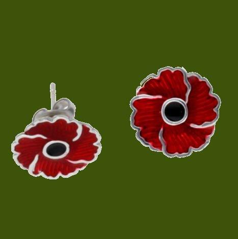 Image 0 of Poppy Flower Red Enamel Small Stud Stylish Pewter Earrings