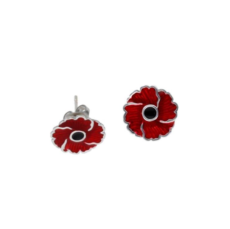 Image 1 of Poppy Flower Red Enamel Small Stud Stylish Pewter Earrings