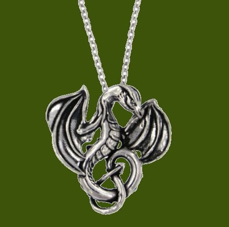 Image 0 of Winged Dragon Mystical Creature Themed Small Stylish Pewter Pendant