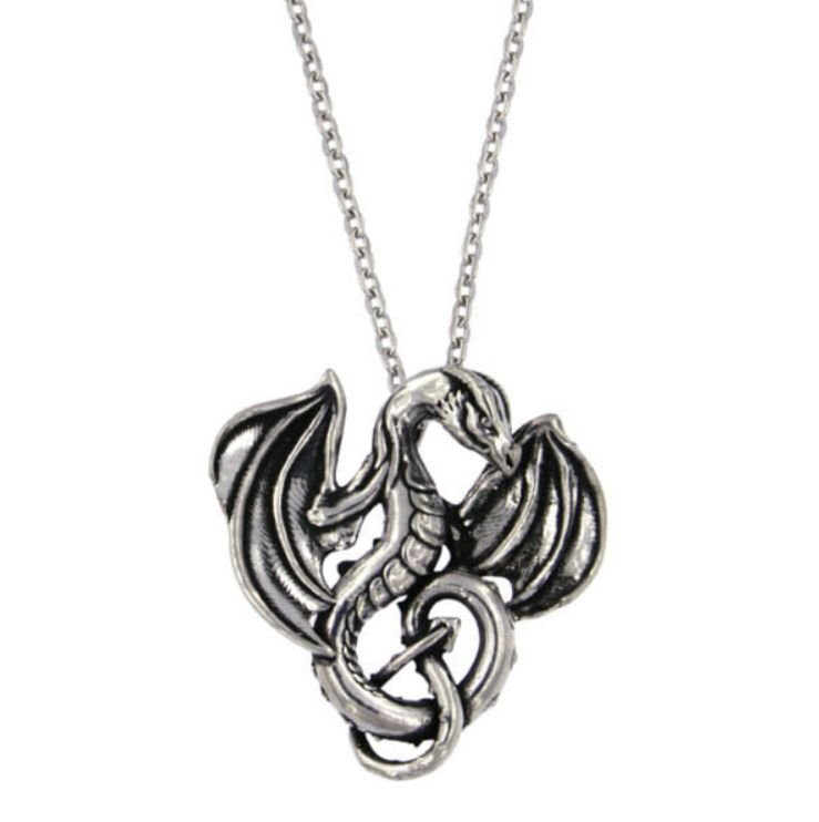 Image 1 of Winged Dragon Mystical Creature Themed Small Stylish Pewter Pendant