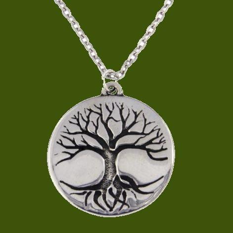 Image 0 of Tree Of Life Engraved Round Disc Stylish Pewter Pendant