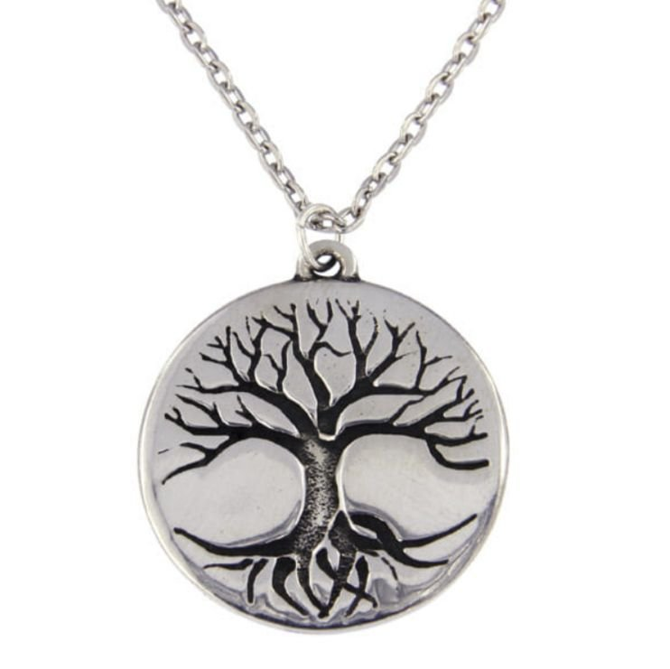 Image 1 of Tree Of Life Engraved Round Disc Stylish Pewter Pendant