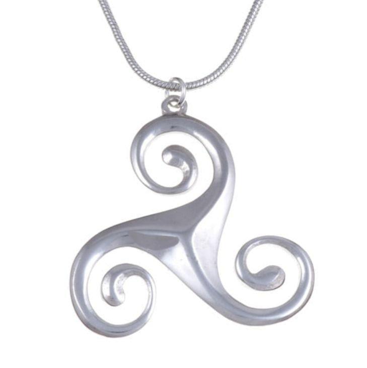 Image 1 of Celtic Triscele Bevelled Open Polished Stylish Pewter Pendant