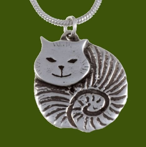 Image 0 of Fat Cat Animal Themed Small Stylish Pewter Pendant