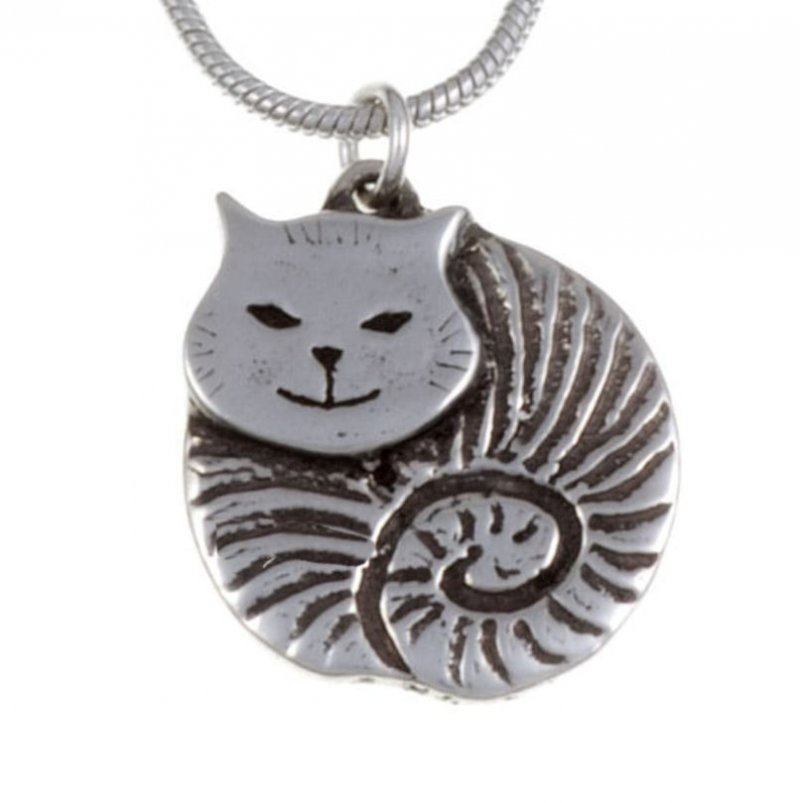 Image 1 of Fat Cat Animal Themed Small Stylish Pewter Pendant