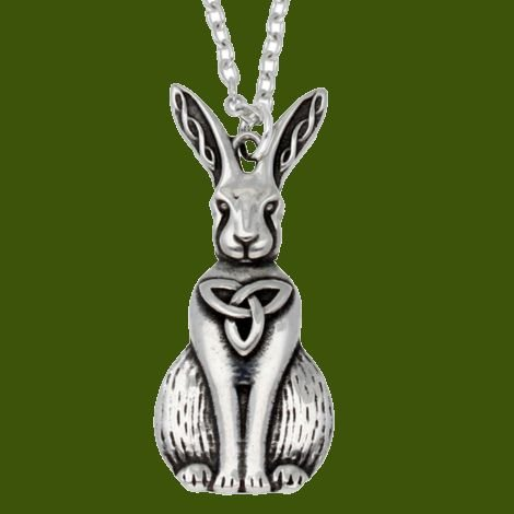 Image 0 of Hare Celtic Open Knotwork Animal Themed Stylish Pewter Pendant