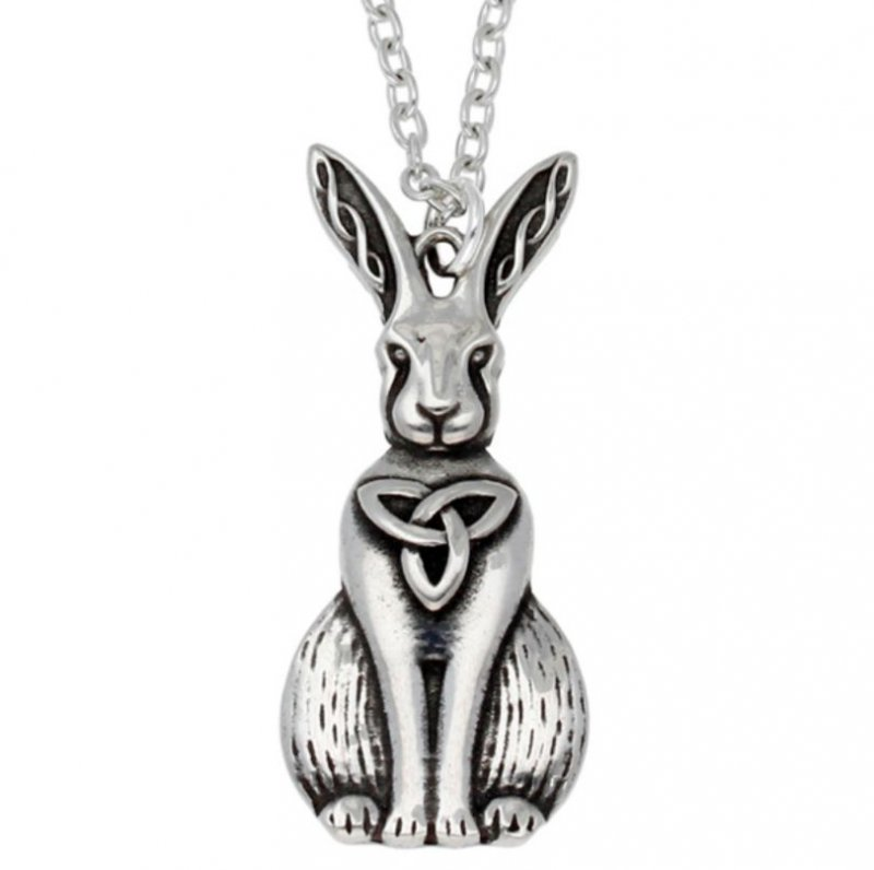 Image 1 of Hare Celtic Open Knotwork Animal Themed Stylish Pewter Pendant