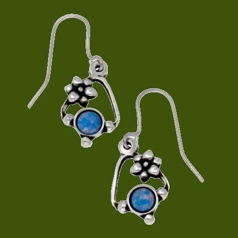 Image 0 of Flower Knot Opal Glass Stone Stylish Pewter Sheppard Hook Earrings