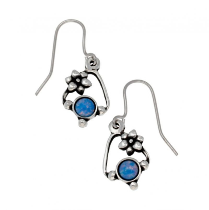Image 1 of Flower Knot Opal Glass Stone Stylish Pewter Sheppard Hook Earrings