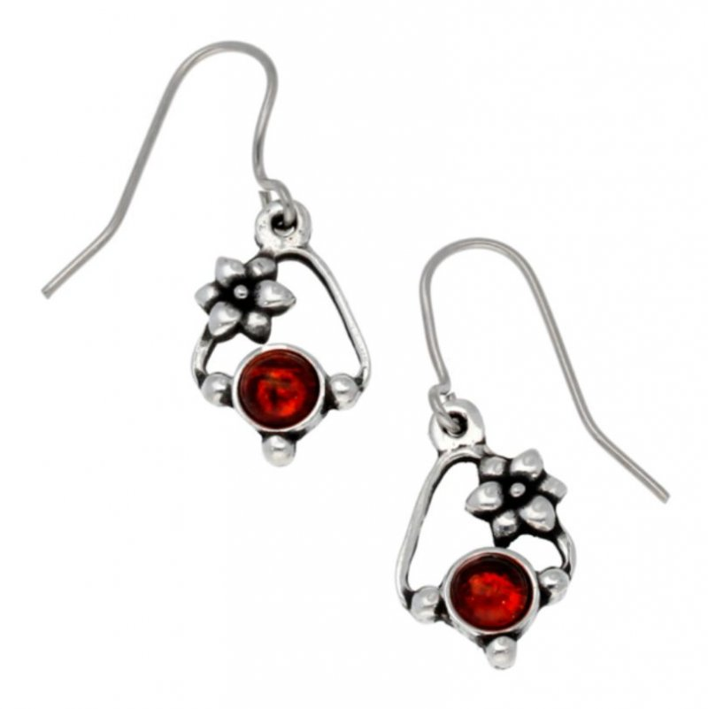 Image 1 of Flower Knot Amber Glass Stone Stylish Pewter Sheppard Hook Earrings