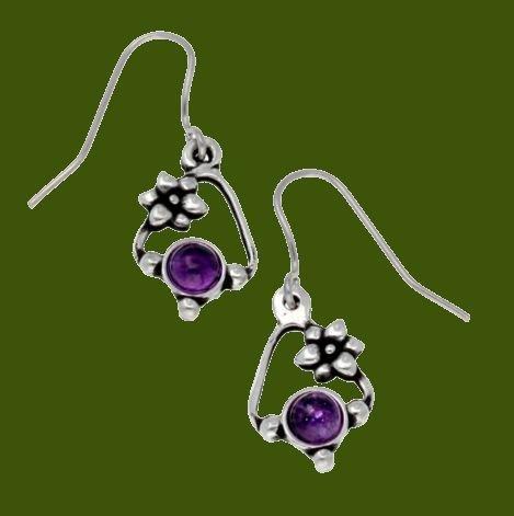 Image 0 of Flower Knot Amethyst Glass Stone Stylish Pewter Sheppard Hook Earrings