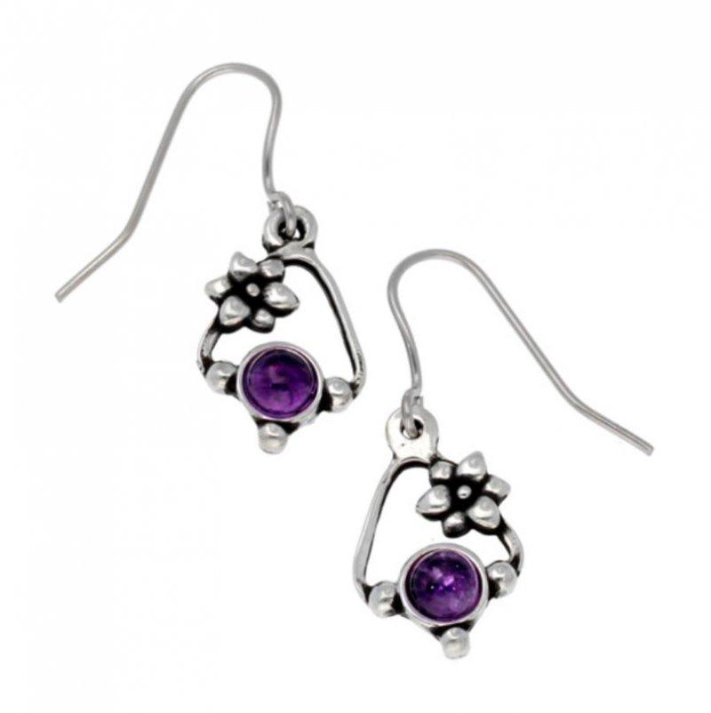 Image 1 of Flower Knot Amethyst Glass Stone Stylish Pewter Sheppard Hook Earrings