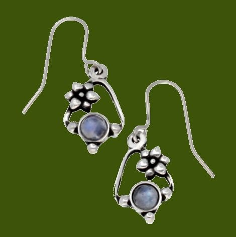 Image 0 of Flower Knot Rainbow Moonstone Glass Stone Stylish Pewter Sheppard Hook Earrings