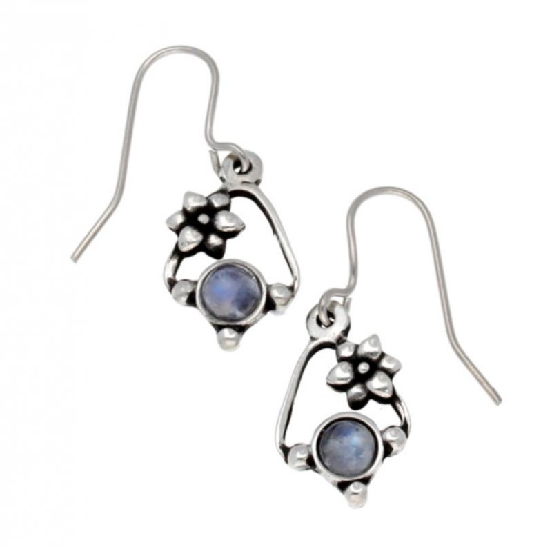 Image 1 of Flower Knot Rainbow Moonstone Glass Stone Stylish Pewter Sheppard Hook Earrings