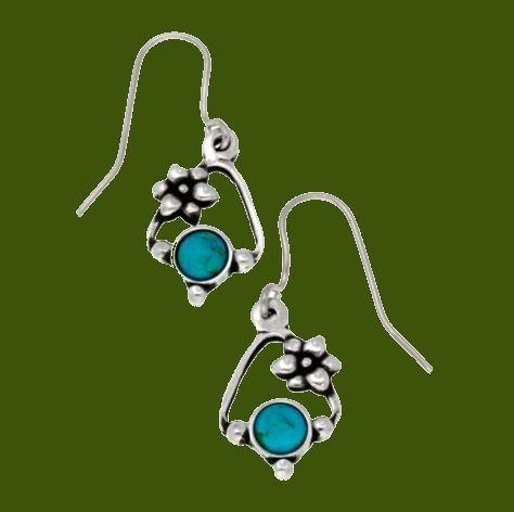 Image 0 of Flower Knot Turquoise Glass Stone Stylish Pewter Sheppard Hook Earrings